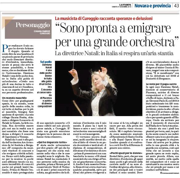 Intervista La Stampa dicembre 2016