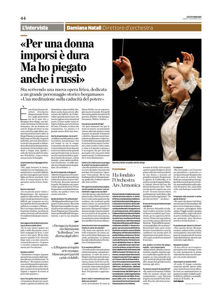 L'Eco di Bergamo, di Carlo Dignola, novembre 2014