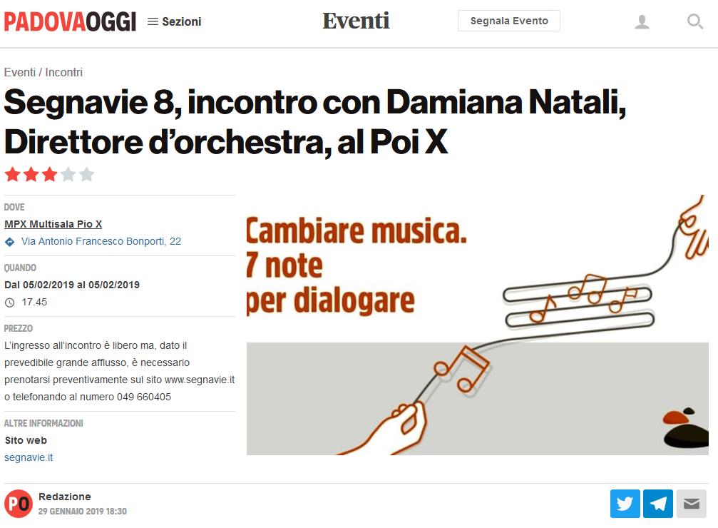 Articolo Padova Oggi febbraio Segnavie 2019